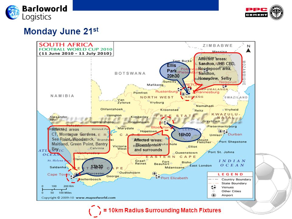 Monday June 21 st 13h30 16h00 Ellis Park 20h30 Affected areas: Sandton, JHB CBD, Roodepoort area, Sandton, Honeydew, Selby Affected areas: Bloemfontei