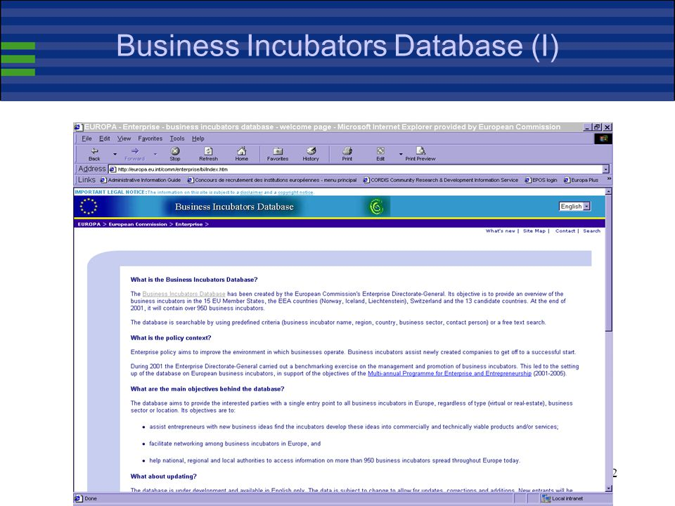 32 Business Incubators Database (I)