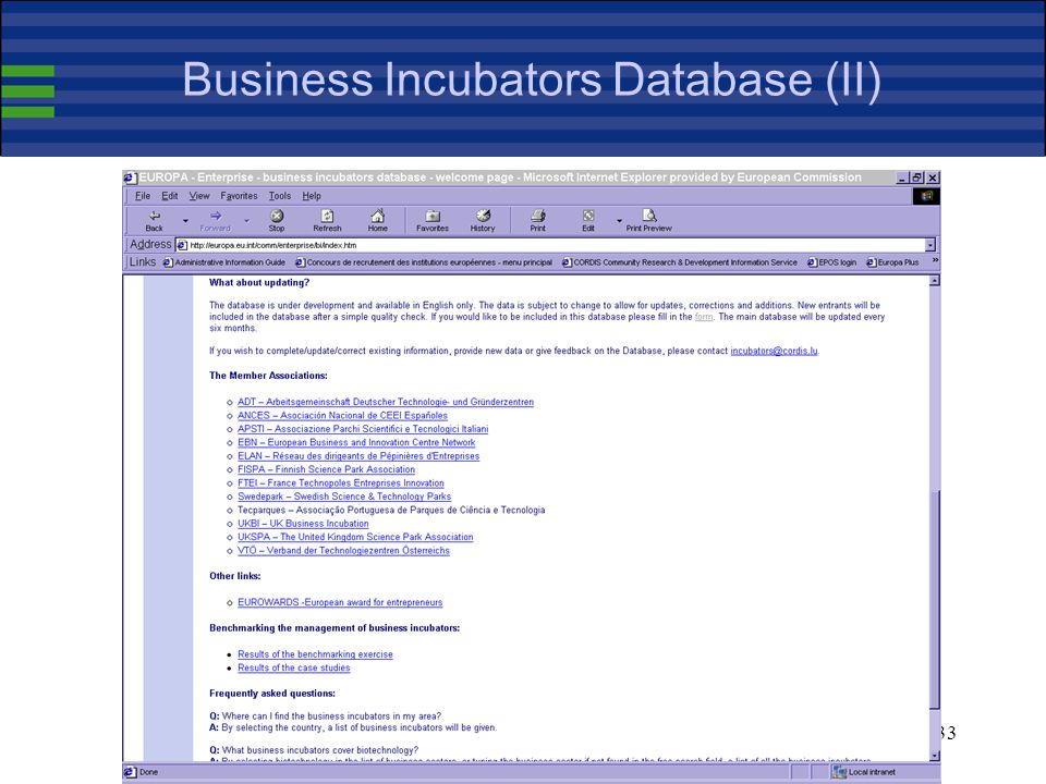 33 Business Incubators Database (II)
