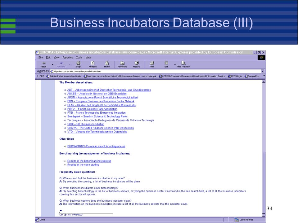34 Business Incubators Database (III)
