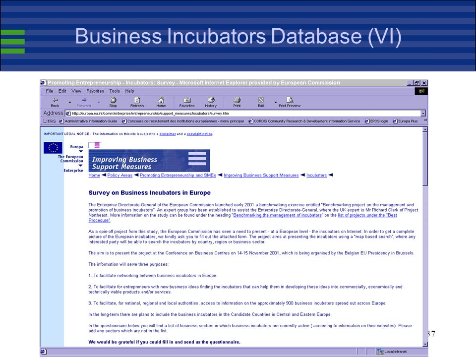 37 Business Incubators Database (VI)