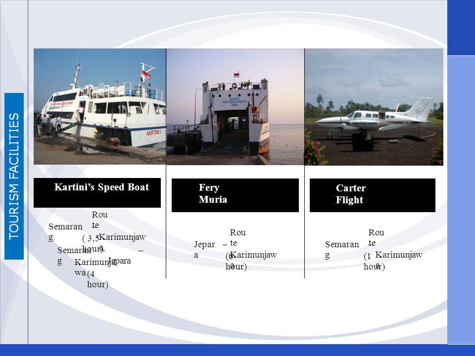 TOURISM FACILITIES Kartinis Speed Boat Fery Muria Carter Flight Rou te Semaran g – Karimunjaw a ( 3,5 hour) Semaran g – Jepara – Karimunja wa (4 hour)