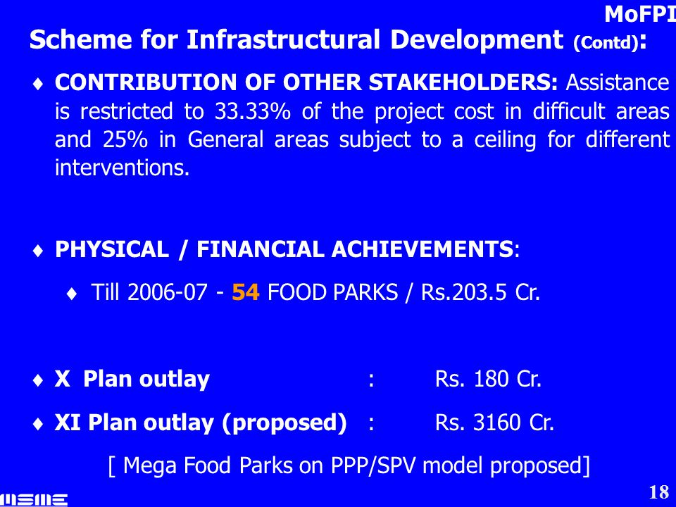 18 Scheme for Infrastructural Development (Contd) : CONTRIBUTION OF OTHER STAKEHOLDERS: Assistance is restricted to 33.33% of the project cost in difficult areas and 25% in General areas subject to a ceiling for different interventions.