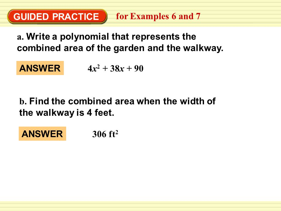 GUIDED PRACTICE for Examples 6 and 7 a.