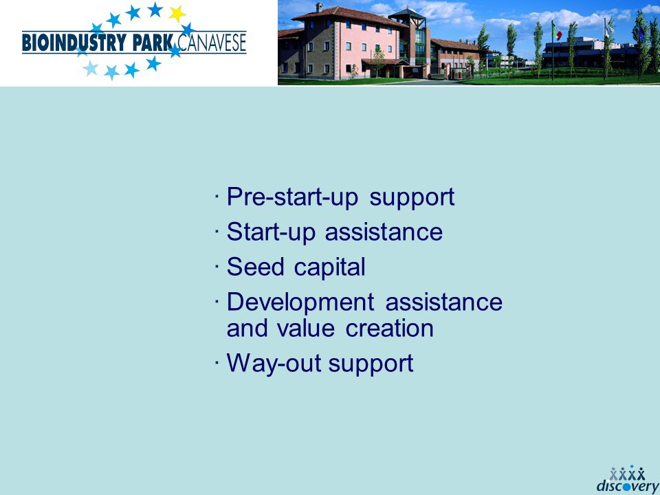 ·Pre-start-up support ·Start-up assistance ·Seed capital ·Development assistance and value creation ·Way-out support
