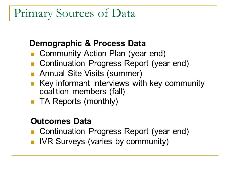 Primary Sources of Data Demographic & Process Data Community Action Plan (year end) Continuation Progress Report (year end) Annual Site Visits (summer) Key informant interviews with key community coalition members (fall) TA Reports (monthly) Outcomes Data Continuation Progress Report (year end) IVR Surveys (varies by community)
