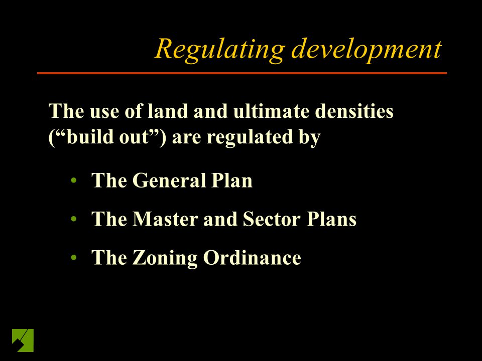 Main Themes in General Plan Transit Oriented Development I-270 Employment Corridor (emphasizing high tech and biotech) An urban ring in the Downcounty Residential suburban wedges A permanent, low-density agricultural reserve Implemented through master and sector plans