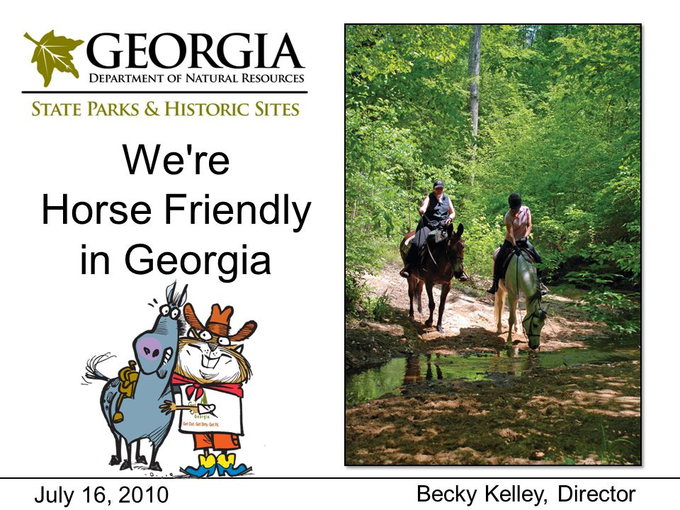 Department of Natural Resources Parks, Recreation and Historic Sites Division Recreation Trail Program Past five years grants benefitting equestrian trails (7 grants totaling $513,858): USFS, Lake Russell Trail Complex - $28,098 USFS, Jake & Bull Mountain Trail System - $32,800 Cherokee County, Garland Mountain Trails - $75,000 Gwinnett County, Harbins Trails - $100,000 USFS, Dry Creek Trail System - $81,000 USFS, Ocmulgee River Equestrian Trails - $100,000 GA DNR, Cloudland Connector - $96,960