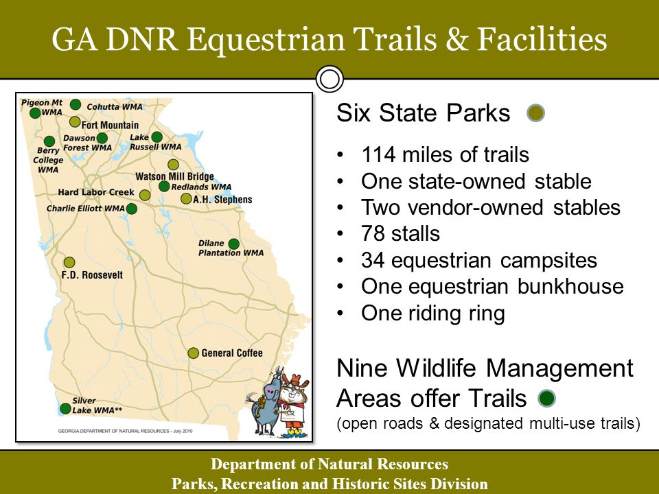 Department of Natural Resources Parks, Recreation and Historic Sites Division SCORP: A New Strategic Direction Local, state and federal governments must work with private sector organizations to invest in parks & outdoor recreation opportunities that: Promote Health/Fitness & Livability of All Georgia Communities Enhance Georgia s Economic Vitality Conserve & Properly Use Georgias Natural Resources