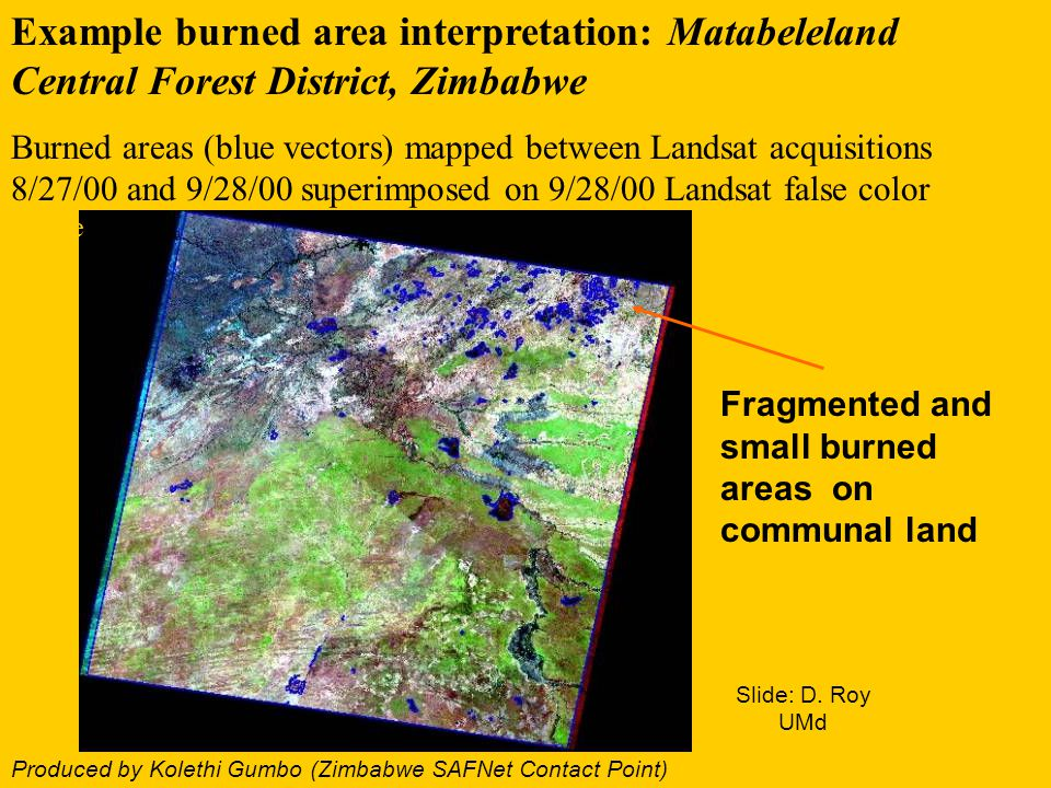Example burned area interpretation: Matabeleland Central Forest District, Zimbabwe Burned areas (blue vectors) mapped between Landsat acquisitions 8/2