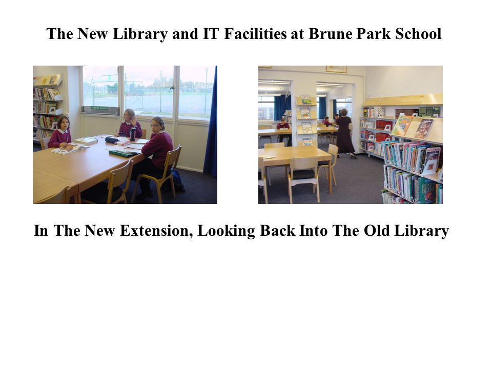 The New Library and IT Facilities at Brune Park School In The New Extension, Looking Back Into The Old Library