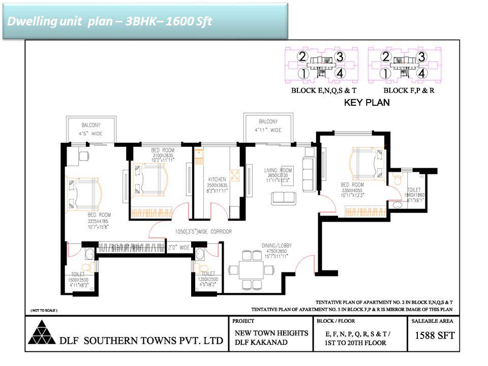 Dwelling unit plan – 3BHK– 1600 Sft