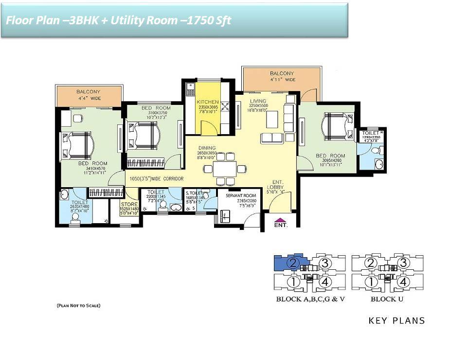 Floor Plan –3BHK + Utility Room –1750 Sft