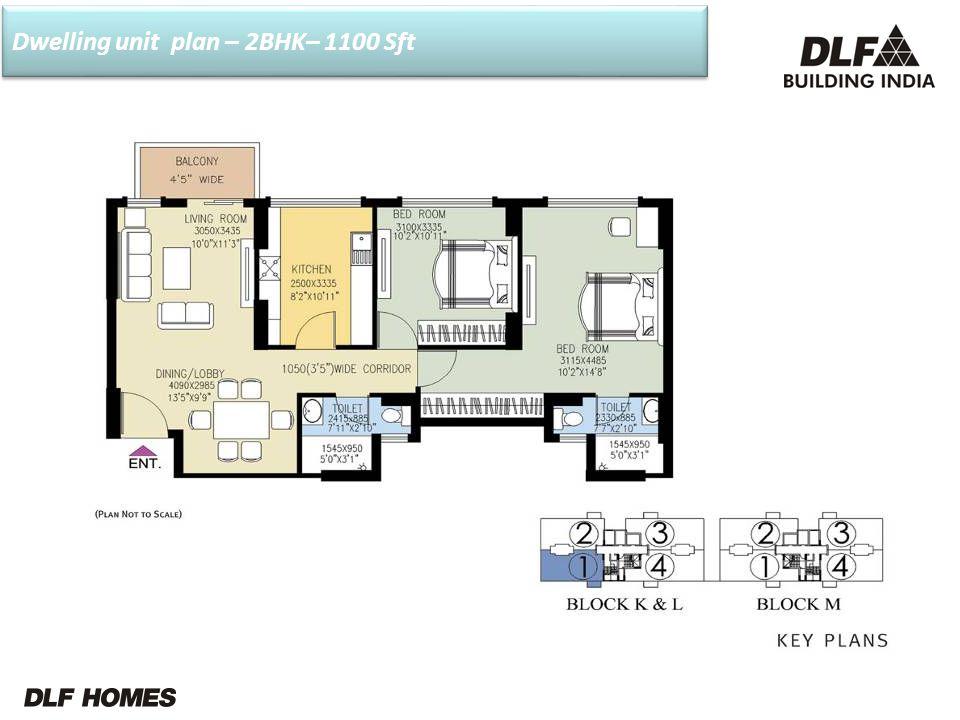 Dwelling unit plan – 2BHK– 1100 Sft