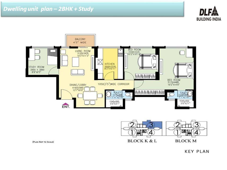 Dwelling unit plan – 2BHK + Study