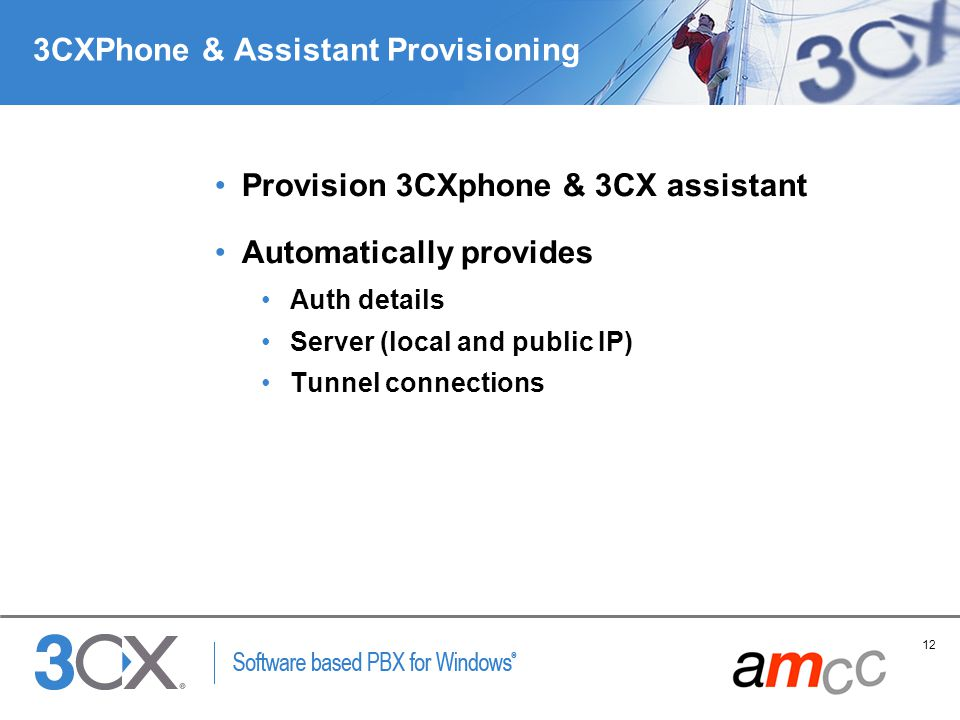 12 Copyright © 2005 ACNielsen a VNU company 3CXPhone & Assistant Provisioning Provision 3CXphone & 3CX assistant Automatically provides Auth details Server (local and public IP) Tunnel connections