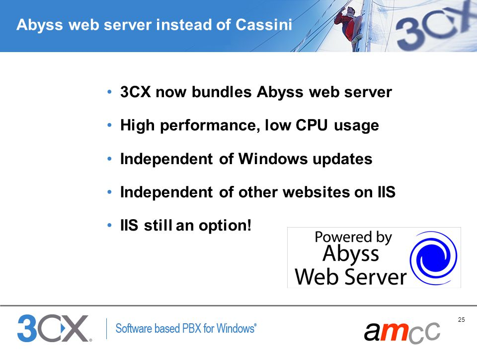 25 Copyright © 2005 ACNielsen a VNU company Abyss web server instead of Cassini 3CX now bundles Abyss web server High performance, low CPU usage Indep
