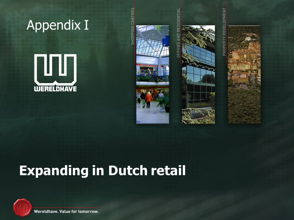 Expanding in Dutch retail Appendix I