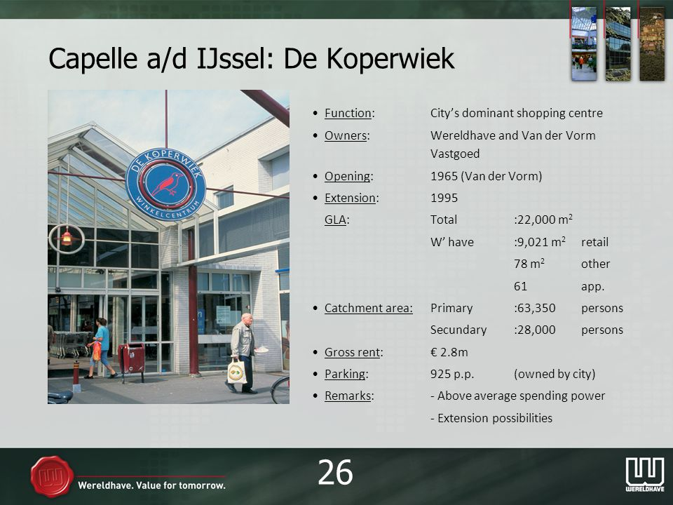 Capelle a/d IJssel: De Koperwiek Function:Citys dominant shopping centre Owners:Wereldhave and Van der Vorm Vastgoed Opening:1965 (Van der Vorm) Extension:1995 GLA:Total:22,000 m 2 W have:9,021 m 2 retail 78 m 2 other 61app.