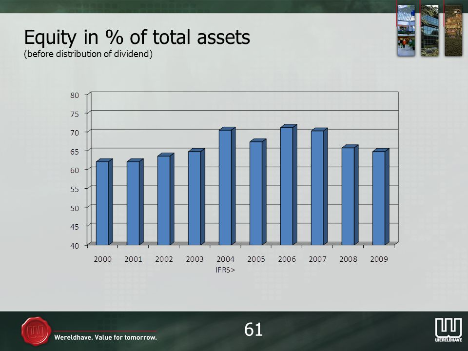 Equity in % of total assets (before distribution of dividend) 61