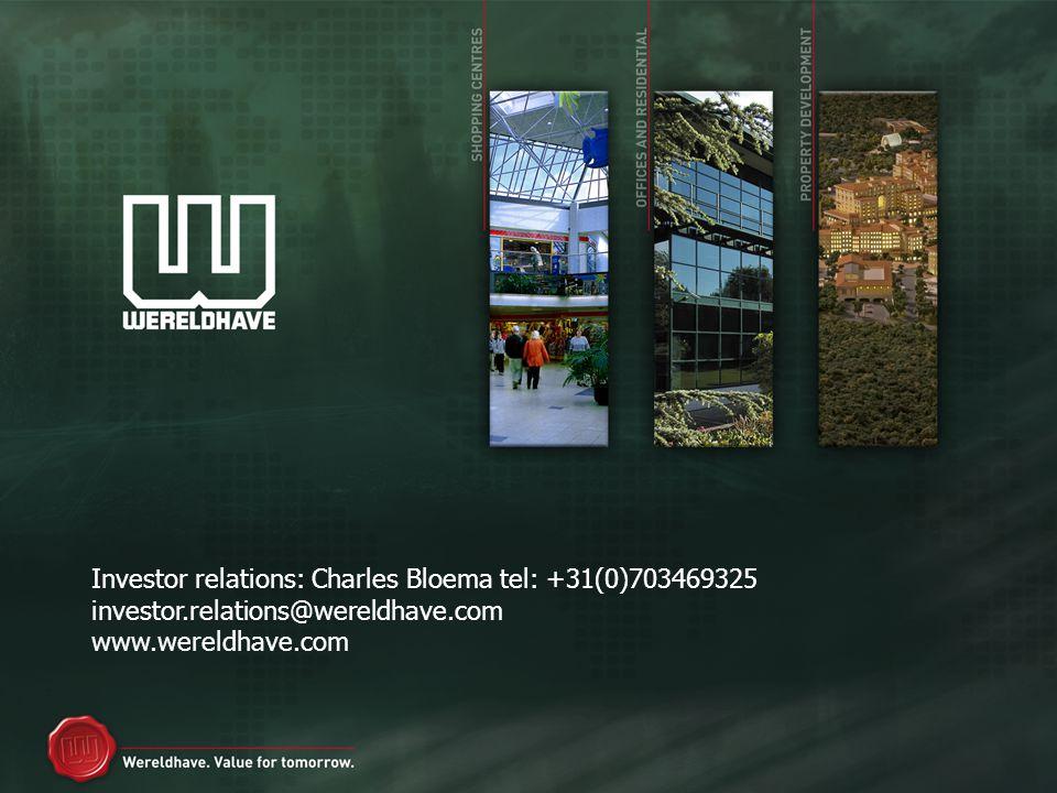 Investor relations: Charles Bloema tel: +31(0)703469325 investor.relations@wereldhave.com www.wereldhave.com