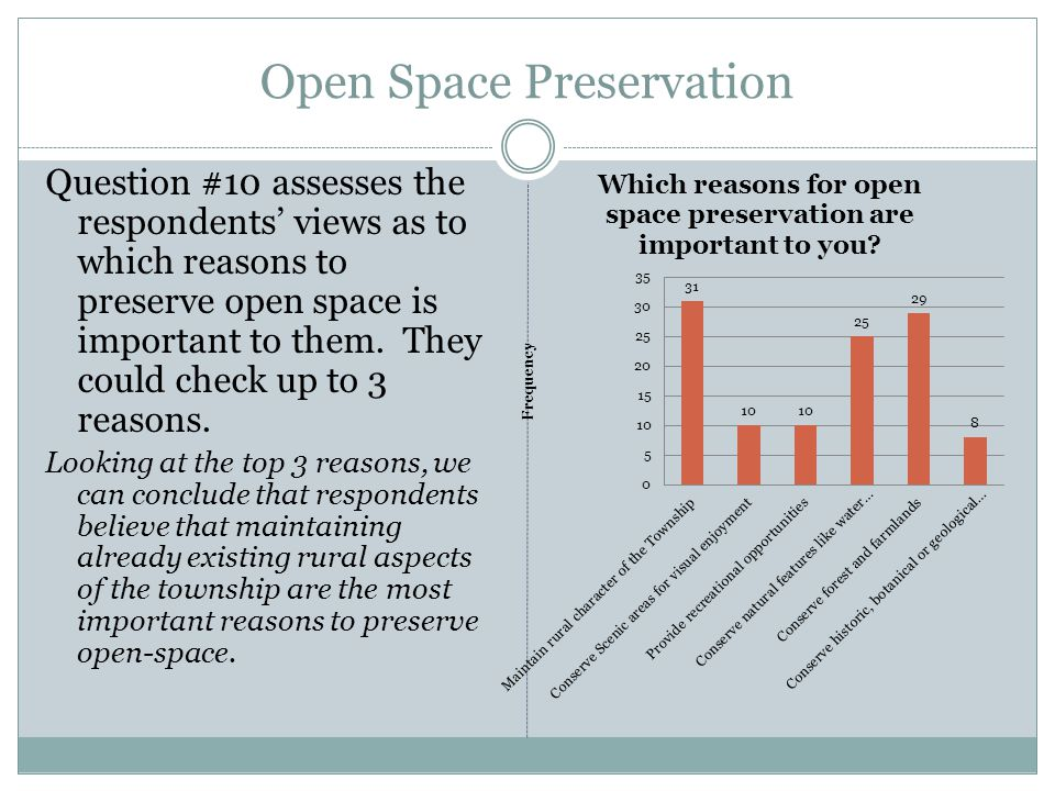 Open Space Preservation Question #10 assesses the respondents views as to which reasons to preserve open space is important to them. They could check