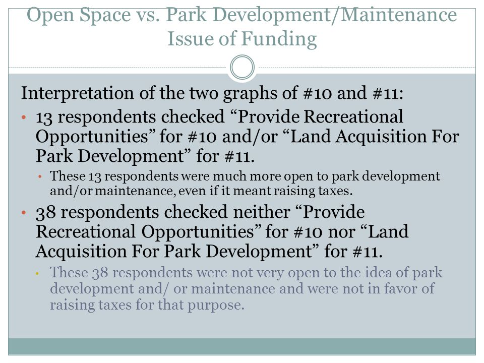 Interpretation of the two graphs of #10 and #11: 13 respondents checked Provide Recreational Opportunities for #10 and/or Land Acquisition For Park Development for #11.