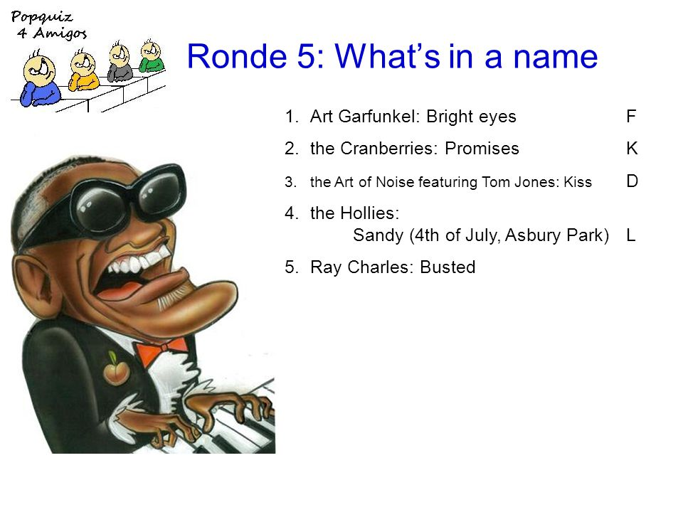 Ronde 5: Whats in a name 1.Art Garfunkel: Bright eyesF 2.the Cranberries: PromisesK 3.the Art of Noise featuring Tom Jones: Kiss D 4.the Hollies: Sandy (4th of July, Asbury Park)L 5.Ray Charles: Busted