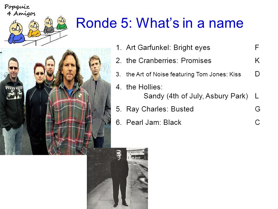 Ronde 5: Whats in a name 1.Art Garfunkel: Bright eyesF 2.the Cranberries: PromisesK 3.the Art of Noise featuring Tom Jones: Kiss D 4.the Hollies: Sandy (4th of July, Asbury Park)L 5.Ray Charles: BustedG 6.Pearl Jam: BlackC