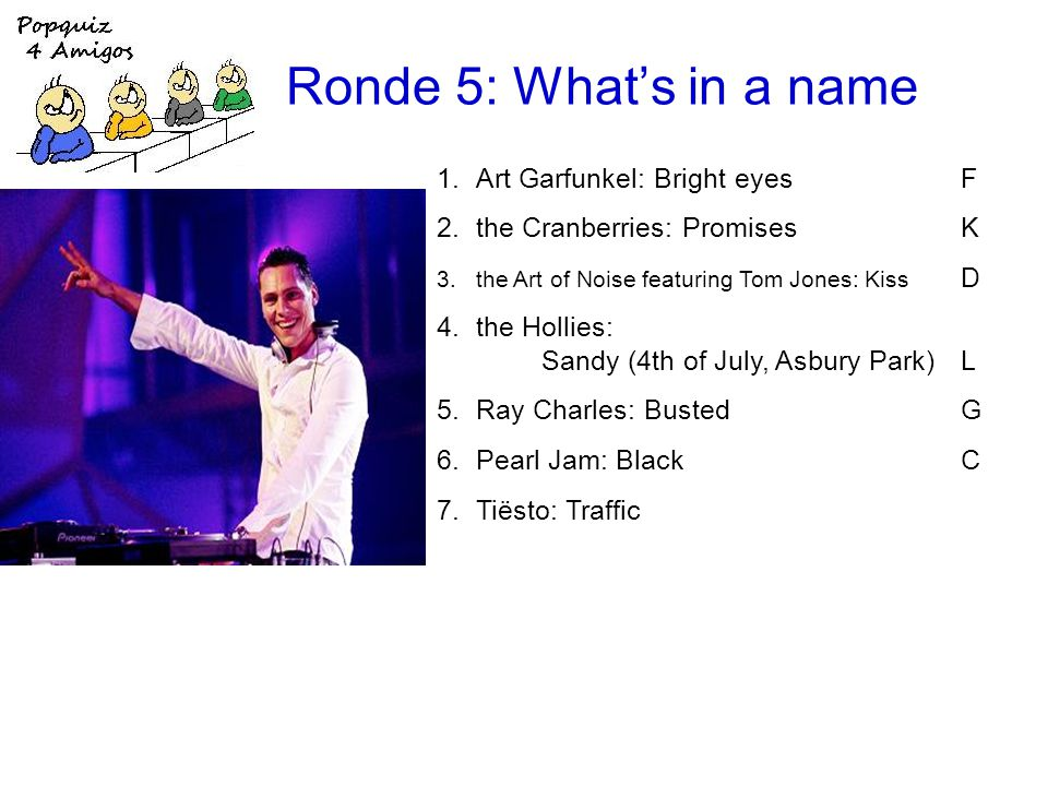 Ronde 5: Whats in a name 1.Art Garfunkel: Bright eyesF 2.the Cranberries: PromisesK 3.the Art of Noise featuring Tom Jones: Kiss D 4.the Hollies: Sandy (4th of July, Asbury Park)L 5.Ray Charles: BustedG 6.Pearl Jam: BlackC 7.Tiësto: Traffic