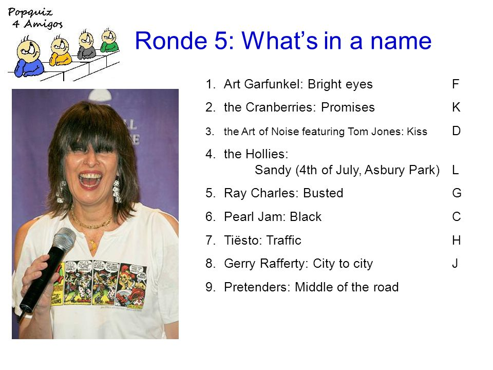 Ronde 5: Whats in a name 1.Art Garfunkel: Bright eyesF 2.the Cranberries: PromisesK 3.the Art of Noise featuring Tom Jones: Kiss D 4.the Hollies: Sandy (4th of July, Asbury Park)L 5.Ray Charles: BustedG 6.Pearl Jam: BlackC 7.Tiësto: TrafficH 8.Gerry Rafferty: City to cityJ 9.Pretenders: Middle of the road