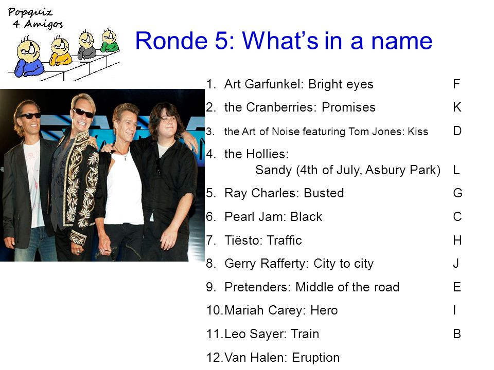 Ronde 5: Whats in a name 1.Art Garfunkel: Bright eyesF 2.the Cranberries: PromisesK 3.the Art of Noise featuring Tom Jones: Kiss D 4.the Hollies: Sandy (4th of July, Asbury Park)L 5.Ray Charles: BustedG 6.Pearl Jam: BlackC 7.Tiësto: TrafficH 8.Gerry Rafferty: City to cityJ 9.Pretenders: Middle of the roadE 10.Mariah Carey: HeroI 11.Leo Sayer: TrainB 12.Van Halen: Eruption