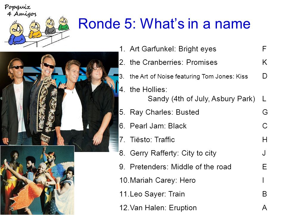 Ronde 5: Whats in a name 1.Art Garfunkel: Bright eyesF 2.the Cranberries: PromisesK 3.the Art of Noise featuring Tom Jones: Kiss D 4.the Hollies: Sandy (4th of July, Asbury Park)L 5.Ray Charles: BustedG 6.Pearl Jam: BlackC 7.Tiësto: TrafficH 8.Gerry Rafferty: City to cityJ 9.Pretenders: Middle of the roadE 10.Mariah Carey: HeroI 11.Leo Sayer: TrainB 12.Van Halen: EruptionA