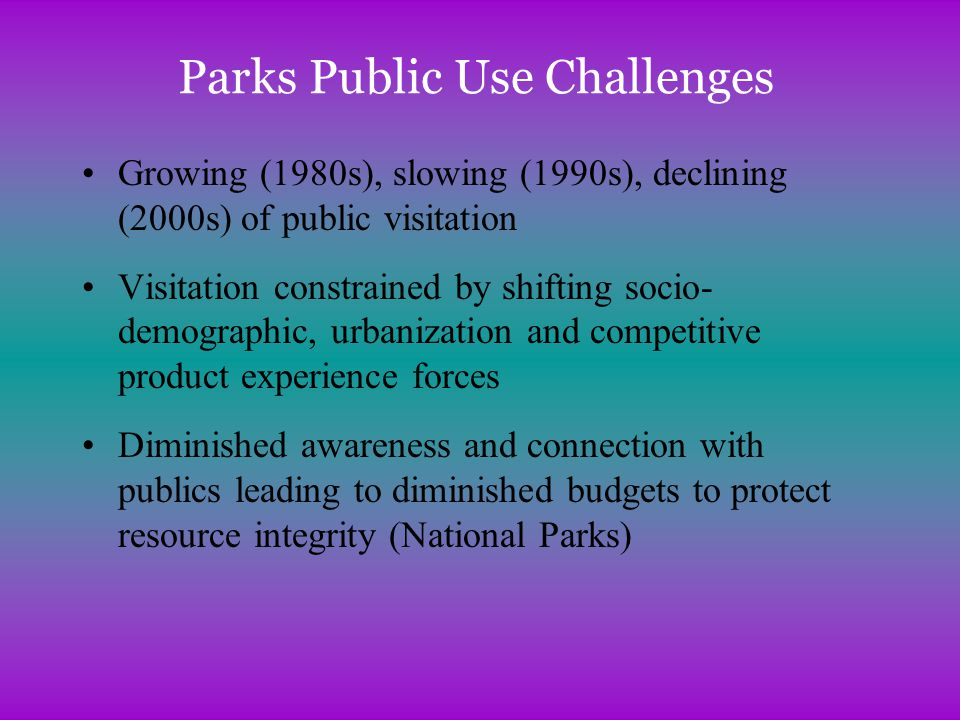 Parks Public Use Challenges Growing (1980s), slowing (1990s), declining (2000s) of public visitation Visitation constrained by shifting socio- demographic, urbanization and competitive product experience forces Diminished awareness and connection with publics leading to diminished budgets to protect resource integrity (National Parks)