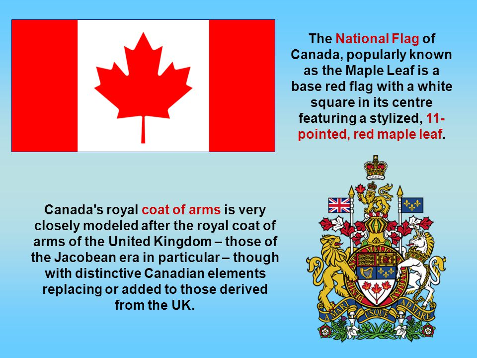 The National Flag of Canada, popularly known as the Maple Leaf is a base red flag with a white square in its centre featuring a stylized, 11- pointed, red maple leaf.