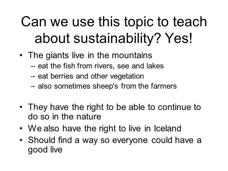 Can we use this topic to teach about sustainability.