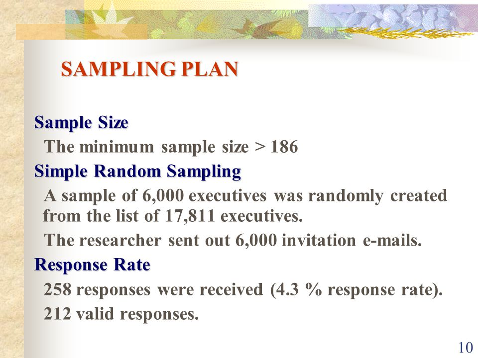 10 SAMPLING PLAN Sample Size The minimum sample size > 186 Simple Random Sampling A sample of 6,000 executives was randomly created from the list of 17,811 executives.