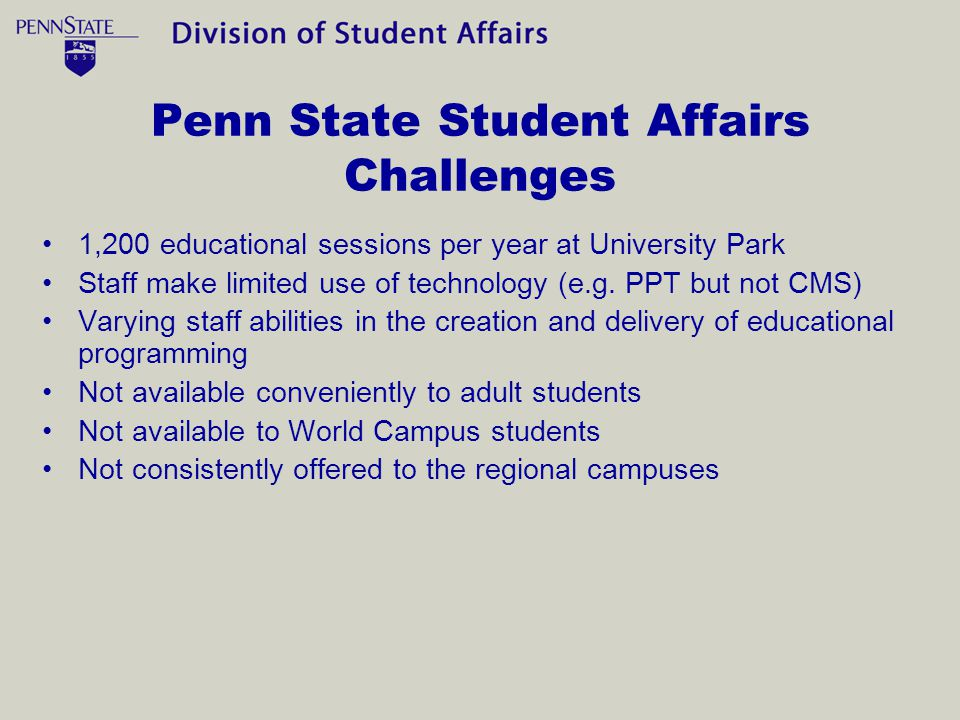 Penn State Student Affairs Challenges 1,200 educational sessions per year at University Park Staff make limited use of technology (e.g.