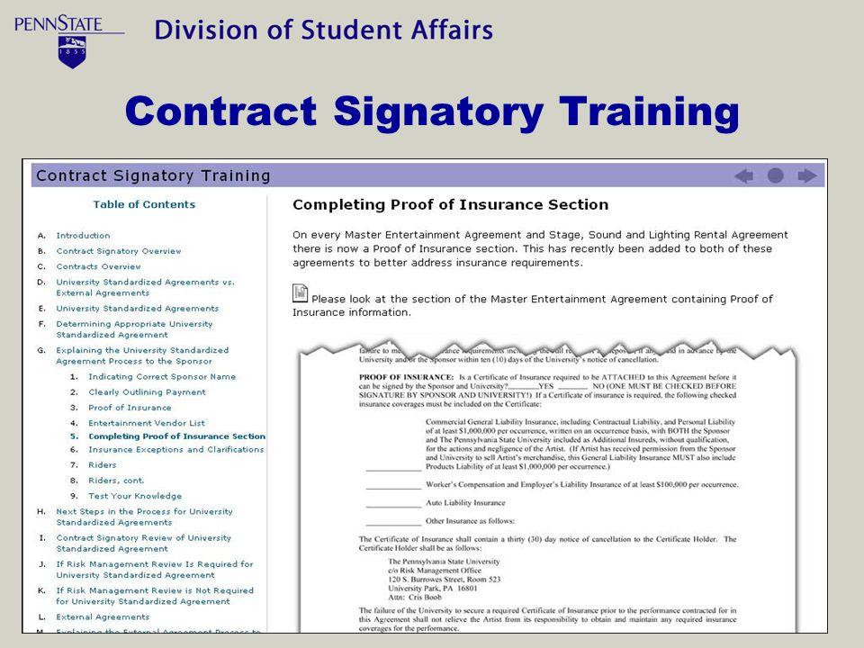 Contract Signatory Training