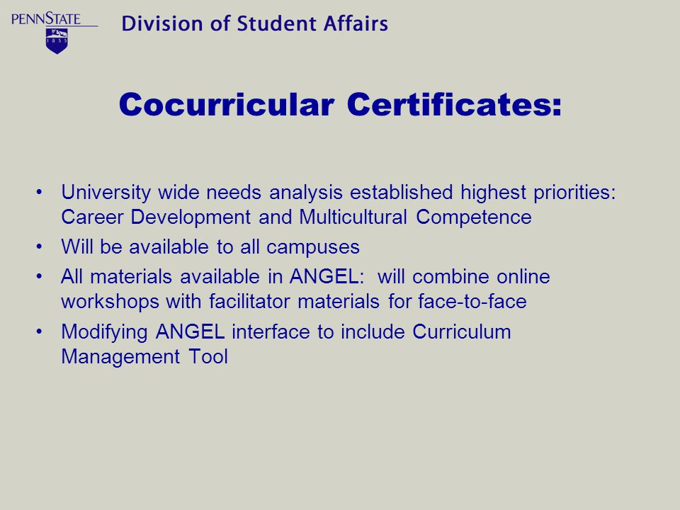 Cocurricular Certificates: University wide needs analysis established highest priorities: Career Development and Multicultural Competence Will be available to all campuses All materials available in ANGEL: will combine online workshops with facilitator materials for face-to-face Modifying ANGEL interface to include Curriculum Management Tool