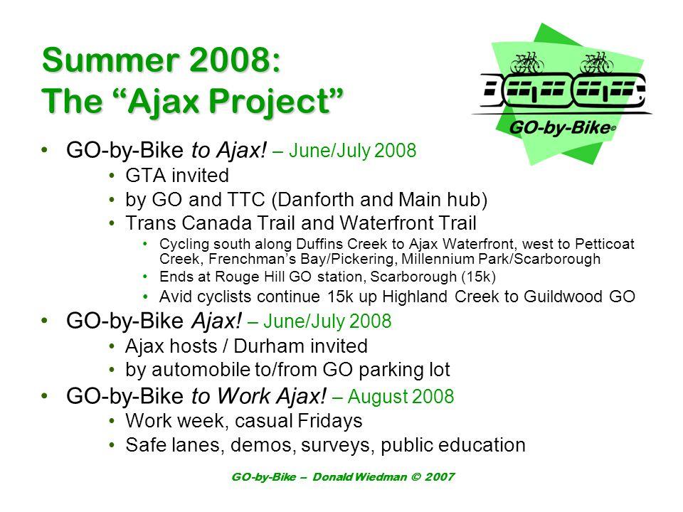 GO-by-Bike – Donald Wiedman © 2007 Summer 2008: The Ajax Project GO-by-Bike to Ajax.