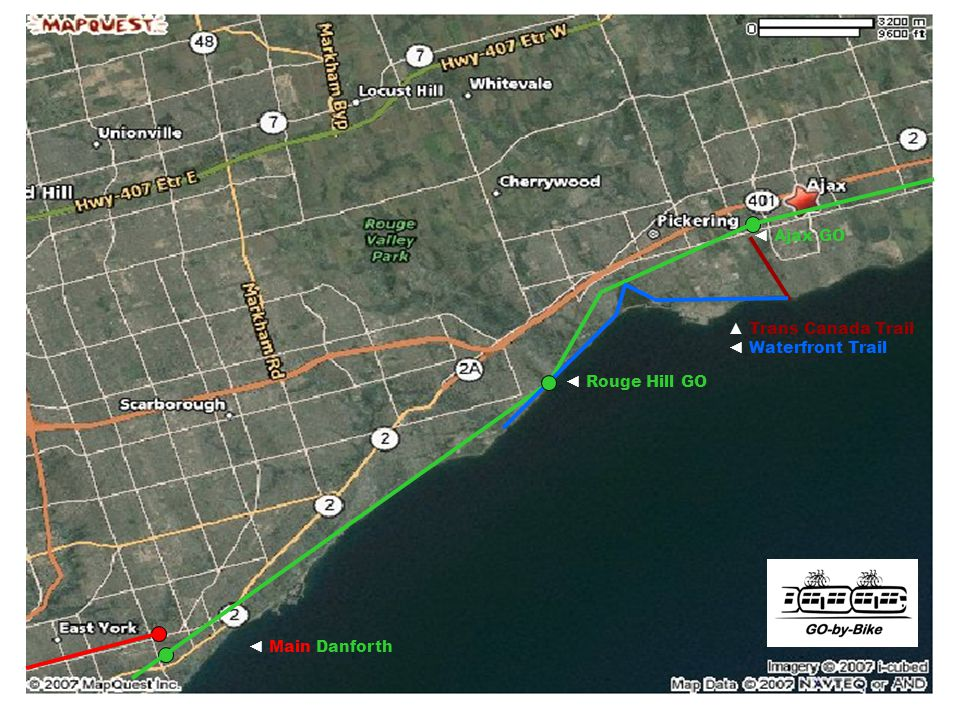 GO-by-Bike – Donald Wiedman © 2007 Main Danforth Rouge Hill GO Ajax GO Trans Canada Trail Waterfront Trail