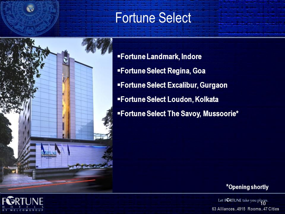 34 Alliances..2706 Rooms..3 1 Cities 63 Alliances..4915 Rooms..47 Cities 10 Fortune Select Fortune Landmark, Indore Fortune Select Regina, Goa Fortune Select Excalibur, Gurgaon Fortune Select Loudon, Kolkata Fortune Select The Savoy, Mussoorie* * Opening shortly