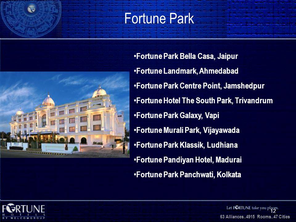 34 Alliances..2706 Rooms..3 1 Cities 63 Alliances..4915 Rooms..47 Cities 12 Fortune Park Fortune Park Bella Casa, Jaipur Fortune Landmark, Ahmedabad Fortune Park Centre Point, Jamshedpur Fortune Hotel The South Park, Trivandrum Fortune Park Galaxy, Vapi Fortune Murali Park, Vijayawada Fortune Park Klassik, Ludhiana Fortune Pandiyan Hotel, Madurai Fortune Park Panchwati, Kolkata