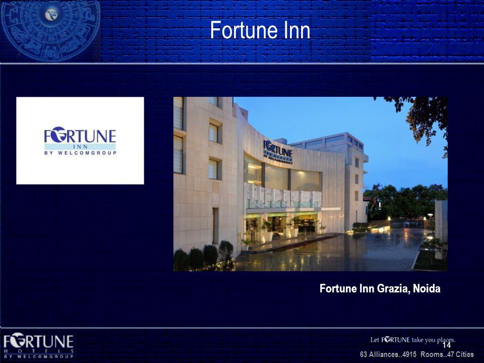 34 Alliances..2706 Rooms..3 1 Cities 63 Alliances..4915 Rooms..47 Cities 14 Fortune Inn Fortune Inn Grazia, Noida