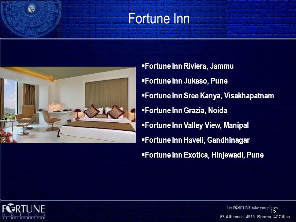 34 Alliances..2706 Rooms..3 1 Cities 63 Alliances..4915 Rooms..47 Cities 15 Fortune Inn Fortune Inn Riviera, Jammu Fortune Inn Jukaso, Pune Fortune Inn Sree Kanya, Visakhapatnam Fortune Inn Grazia, Noida Fortune Inn Valley View, Manipal Fortune Inn Haveli, Gandhinagar Fortune Inn Exotica, Hinjewadi, Pune
