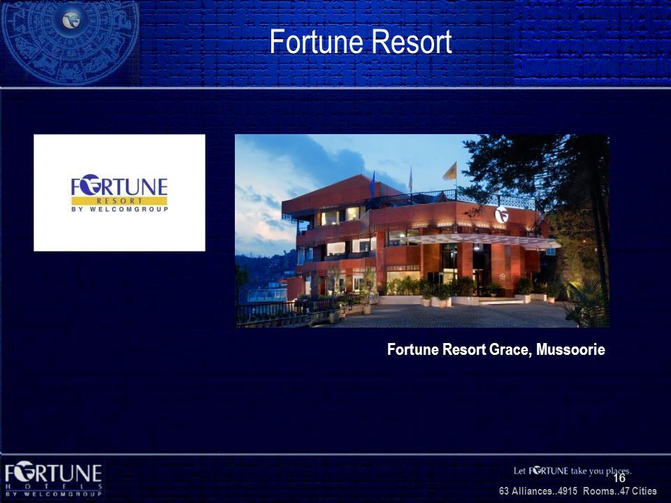 34 Alliances..2706 Rooms..3 1 Cities 63 Alliances..4915 Rooms..47 Cities 16 Fortune Resort Fortune Resort Grace, Mussoorie
