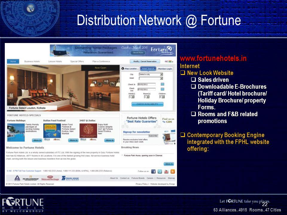 34 Alliances..2706 Rooms..3 1 Cities 63 Alliances..4915 Rooms..47 Cities 22 Distribution Network @ Fortune www.fortunehotels.inInternet New Look Websi