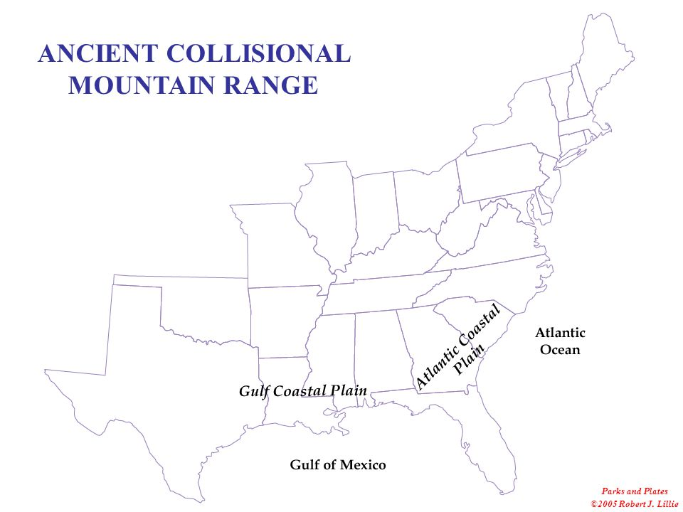 Parks and Plates ©2005 Robert J. Lillie ANCIENT COLLISIONAL MOUNTAIN RANGE
