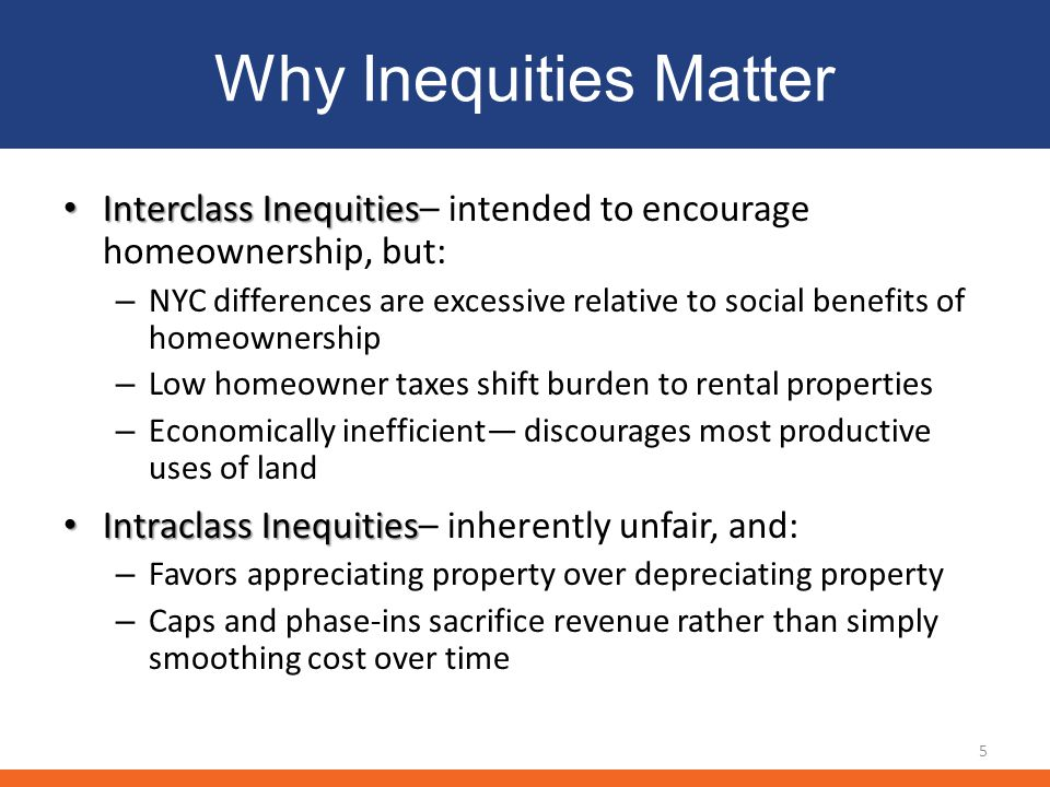 Why Inequities Matter Interclass Inequities Interclass Inequities– intended to encourage homeownership, but: – NYC differences are excessive relative to social benefits of homeownership – Low homeowner taxes shift burden to rental properties – Economically inefficient discourages most productive uses of land Intraclass Inequities Intraclass Inequities– inherently unfair, and: – Favors appreciating property over depreciating property – Caps and phase-ins sacrifice revenue rather than simply smoothing cost over time 5